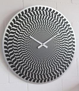XL Wanduhr Sujet Illusion - 55 cm Durchmesser - Direktdruck auf silber gebürstete Aluminium-Platte
