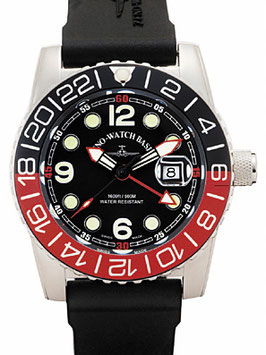 Zeno Watch Airplane Diver, XL Taucheruhr Quartz, schwarz/rot - 2 Jahre Garantie