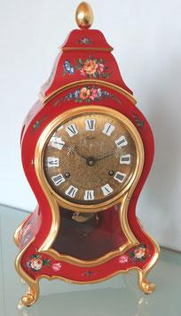 """Neuenburger Pendule """"Musette"""" in rot, mit von Hand bemalten Rosenmuster, Art. Nr. 17-229"""