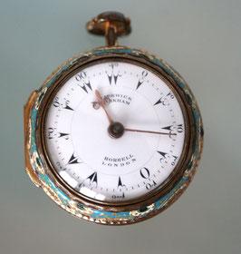 """Antike Spindeltaschenuhr """"Markham Borrell, London"""" mit Doppelgehäuse"""