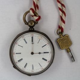 Taschenuhr Nr. 035 - No Name - Neusilber - mit Schlüssel