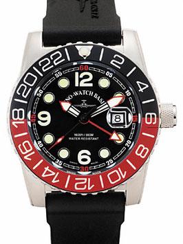 Zeno Watch Airplane Diver, XL Taucheruhr Quartz, schwarz/rot - 2 Jahre Garantie