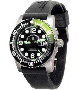 Zeno Watch Airplane Diver, XL Taucheruhr Quartz, schwarz/grün - 2 Jahre Garantie