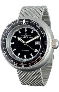 Zeno Watch - Retro Deep Diver Tachymeter schwarz, Automatik, Edelstahl, NEUHEIT 2019 - 2 Jahre Garantie, inkl. Uhrenbeweger!