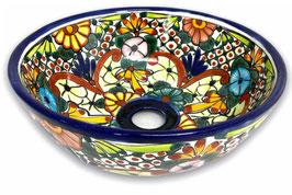 Mexikanisches Aufsatzwaschbecken (rund, klein) #AMB-200-4