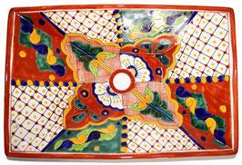 Mexikanisches Aufsatzwaschbecken (rechteckig) #AMB-013-4