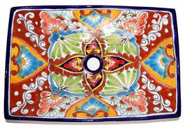 Mexikanisches Aufsatzwaschbecken (rechteckig) #AMB-013-14