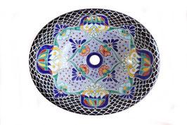 """Mexikanisches Waschbecken """"Tulum"""" (oval, medium) #1009-2"""