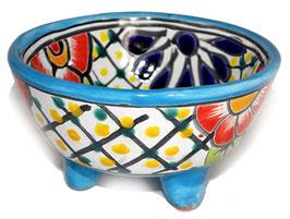 Schale Multicolor (Molcajete Mini) - Akzentfarbe hellblau - #AMK-030-2