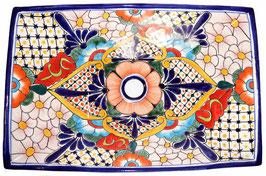 Mexikanisches Aufsatzwaschbecken (rechteckig) #AMB-013-15