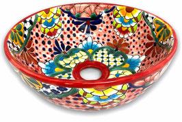 Mexikanisches Aufsatzwaschbecken (rund, klein) #AMB-200-1