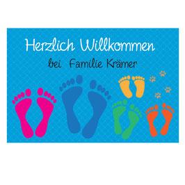 """Fußmatte """"Fußabdrücke"""" mit 5 Familienmitgliedern (optional mit Pfoten)"""