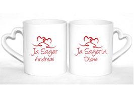 """2er Set Tassen """"Ja Sager / Ja Sagerin"""""""