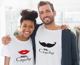"""2 Partner """"T-Shirts Lippen und Schnauzer"""""""