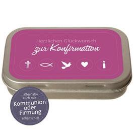 """Geld-Geschenkdose """"Herzlichen Glückwunsch zur Konfirmation / Firmung / Kommunion"""""""