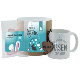 """Geschenk-Set - Tasse + Schlüsselanhänger + Hab-Dich-lieb-Herzen """"Frohe Ostern - Für den süßesten Hasen der Welt"""" (rosa oder blau)"""