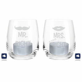 Leonardo Windlicht-Set Mr. Right & Mrs. Always Right