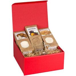"""Geschenkbox """"Weihnachtszauber"""" inkl. personalisiertem Glühweinglas"""