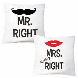 Kissenset Mr. Right & Mrs. Always Right