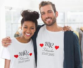 2 Partner T-Shirts Mr. & Mrs. mit zwei Herzen