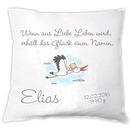 """Kissen """"Wenn aus Liebe Leben wird"""" mit Storch"""