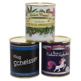 3er Set Einhorn-Leckerlies, Klugscheisser und Dschungel-Spezialitäten aus der Dose