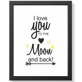 "Bild ""I love you to the moon and back"" inkl. Rahmen"
