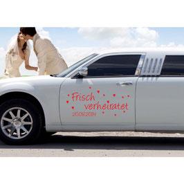 "Autoaufkleber ""Frisch verheiratet + Datum"""