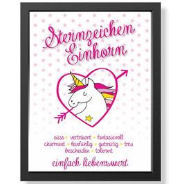 """Bild """"Sternzeichen Einhorn"""" inkl. Rahmen"""