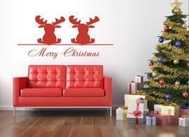 """Wandtattoo """"Elchpaar"""" wünscht Merry Christmas"""