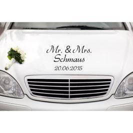 "Autoaufkleber ""Mr. & Mrs. + Familienname + Datum"""