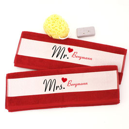 "2er Handtuchset ""Mr. & Mrs. mit Namen"""