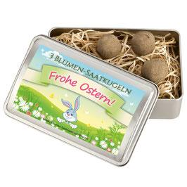 """Blumen-Saatkugeln Geschenkbox """"Frohe Ostern"""""""