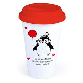 """Coffee-To-Go-Becher """"Ich will einen Pinguin"""""""