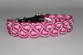 Halsband mit Adapter aus Biothane in pink, mit Reflektoren