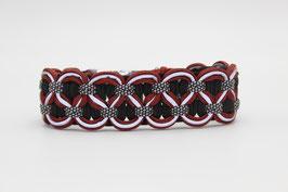 Halsband mit Clickverschluss in rot mit Reflektoren