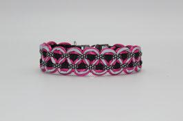 Halsband mit Clickverschluss in pink mit Reflektoren