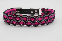 Halsband mit Adapter aus Biothane in schwarz, mit Reflektoren