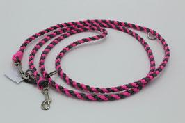 Leine aus Paracord in pink und grau
