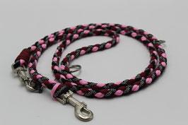 Leine aus Paracord in schwarz, rosa und weinrot