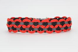 Halsband mit Clickverschluss in orange-rot