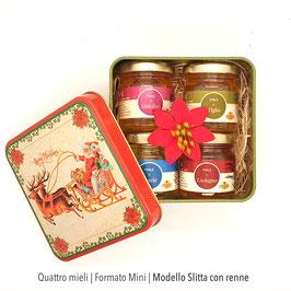 Quattro mignon in scatola di latta natalizia   Formato mini