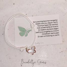 Vlinderarmband met mini kaart - wit