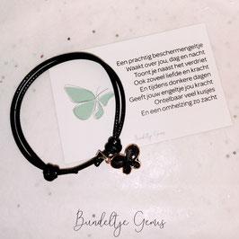 Vlinderarmband met mini kaart - zwart