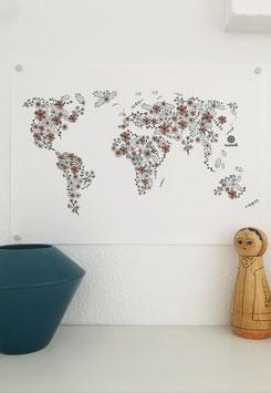 Weltkarte aus Blumen.