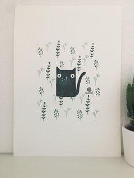 Katze auf der Wiese.