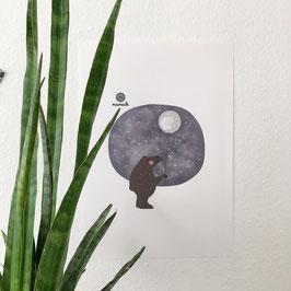 Poster Bär mit Mond.