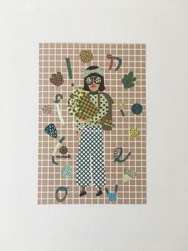 Miniprint: Frau mit Blumenstrauß. Flowers!