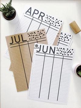 Fortlaufender Kalender zum Ausdrucken.
