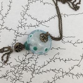 Sautoir perle de verre soufflé transparent